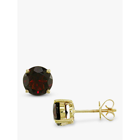 Buy EWA Deep Red Garnet 9ct Gold Stud Earrings Online at johnlewis.com