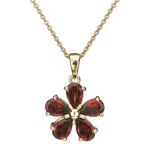 Buy EWA Red Garnet Flower Pendant Online at johnlewis.com