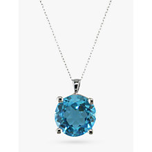 Buy EWA White Gold Topaz Pendant Necklace, Blue Online at johnlewis.com