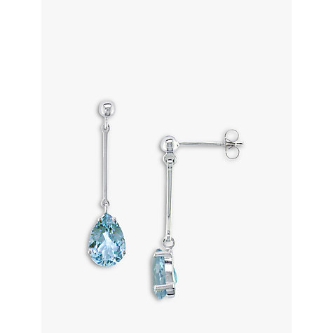 Buy EWA 9ct White Gold Aquamarine Drop Earrings Online at johnlewis.com