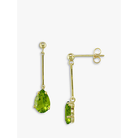 Buy EWA 9ct Gold & Peridot Drop Earrings Online at johnlewis.com