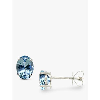 EWA White Gold Aquamarine Stud Earrings