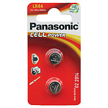 Buy Panasonic Alkaline Coin LR-44/2BP Battery Online at johnlewis.com