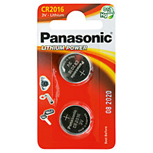 Buy Panasonic Lithium Coin CR2016/2BP Battery Online at johnlewis.com