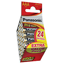 Buy Panasonic Pro Power Alkaline AAA Batteries, Pack of 24 Online at johnlewis.com