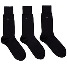Buy Calvin Klein Fine Cotton Socks, Pack of 3, One Size, Black Online at johnlewis.com