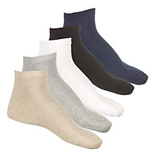 Buy John Lewis Trainer Socks, Pack of 5, One Size Online at johnlewis.com