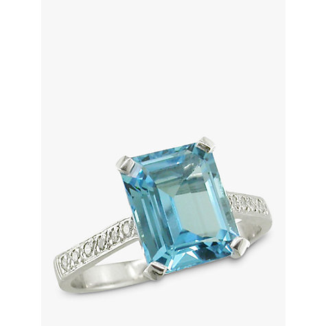 Buy EWA 18ct White Gold Aquamarine Diamond Shoulder Cocktail Ring Online at johnlewis.com