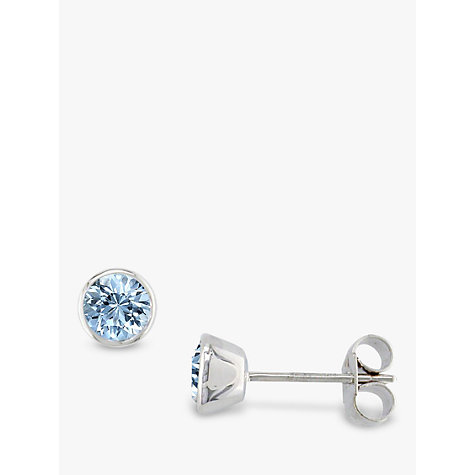 Buy EWA 9ct White Gold & Aquamarine Stud Earrings Online at johnlewis.com