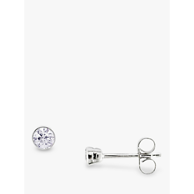 EWA White Gold Diamond Modern Stud Earrings
