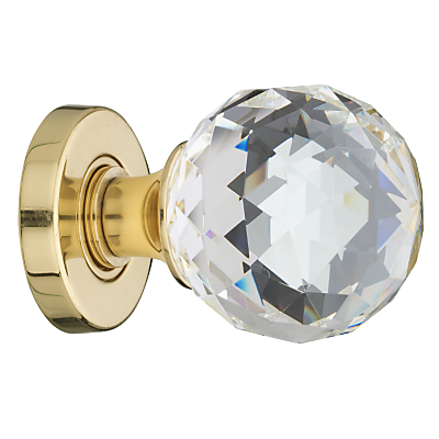 John Lewis Crystal Mortice Knobs, Pack of 2, Brass