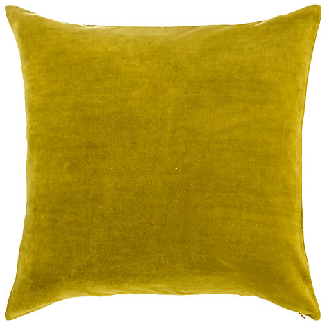 Buy Plain Velvet Cushion, Green Online at johnlewis.com