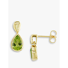 Buy EWA 9ct Yellow Gold Peridot Pear Drop Earrings Online at johnlewis.com