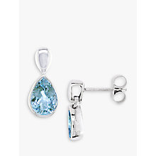 Buy EWA 9ct White Gold Aquamarine Pear Earrings Online at johnlewis.com