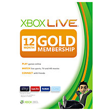 Buy 12 Month Xbox Live Gold Subscription Online at johnlewis.com
