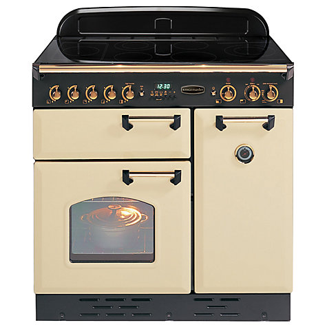 Buy Rangemaster Classic 90 Electric Induction Range Cooker, Cream/Brass Trim Online at johnlewis.com