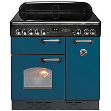 Buy Rangemaster Classic 90 Electric Induction Range Cooker, Blue/Chrome Trim and LEIHDC90SC Chimney Cooker Hood, Stainless Steel Online at johnlewis.com