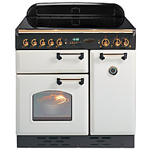 Buy Rangemaster Classic 90 Electric Induction Range Cooker, White/Brass Trim Online at johnlewis.com