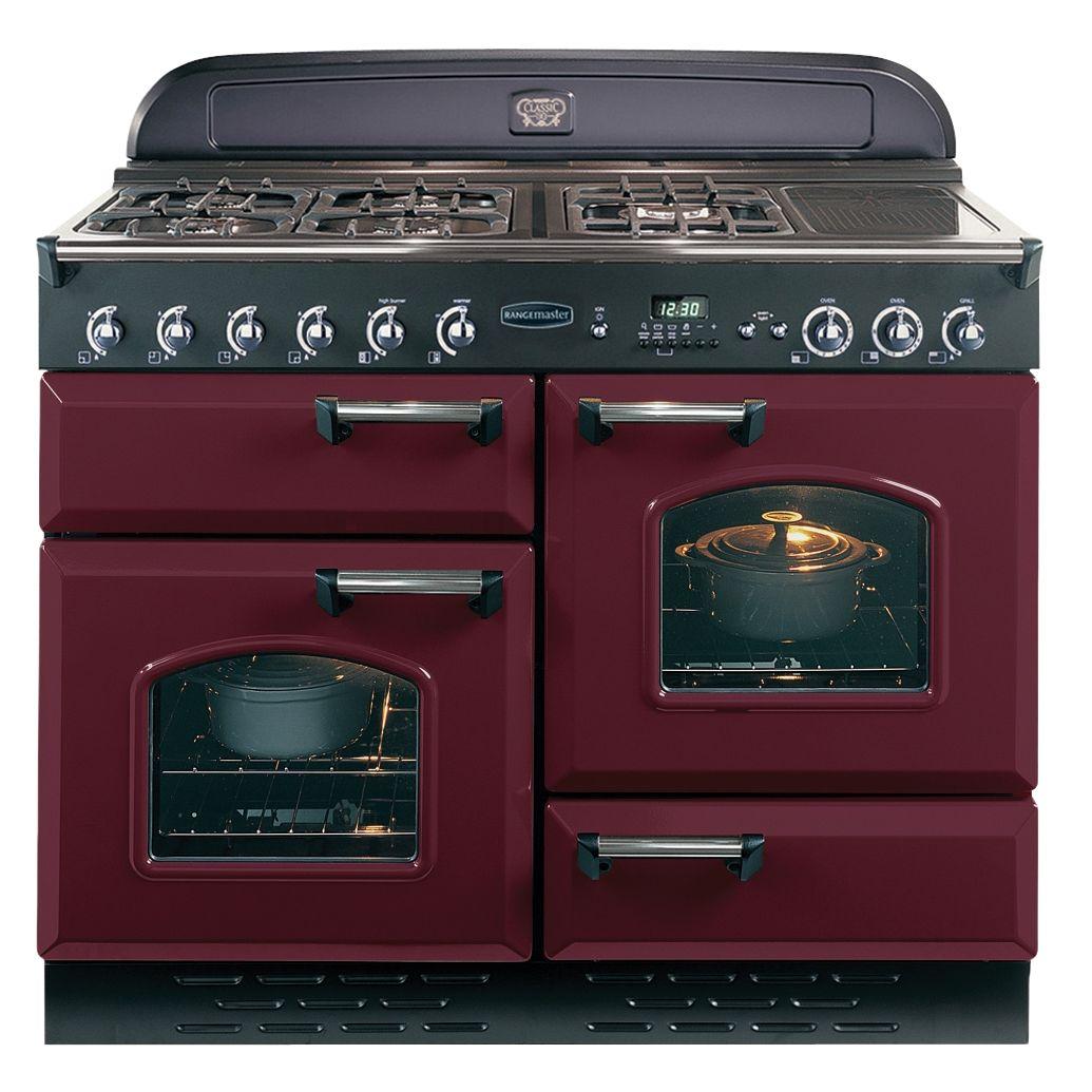 Rangemaster Classic 110 Dual Fuel Range Cooker CranberryChrome Trim