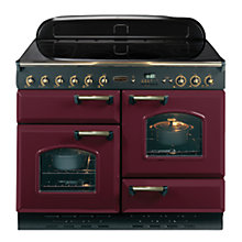Buy Rangemaster Classic 110 Electric Range Cooker, Cranberry/Brass Trim and LEIHDC110SC Chimney Cooker Hood, Stainless Steel Online at johnlewis.com