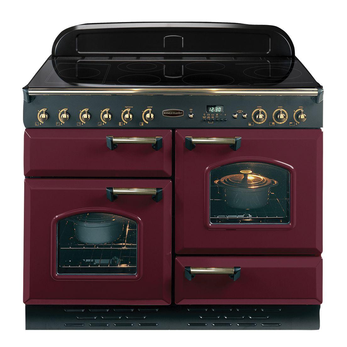 Rangemaster Classic 110 Electric Range Cooker CranberryBrass Trim