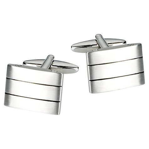 Buy John Lewis Triple Striped Brushed Steel Cufflinks, Silver Online at johnlewis.com