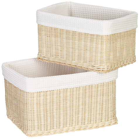 Buy John Lewis Rattan Baskets, Set of 2, White Waffle Online at johnlewis.com