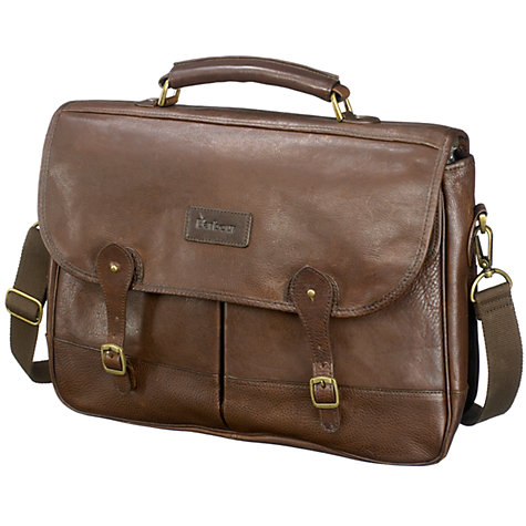 Buy Barbour Leather Satchel, Brown Online at johnlewis.com