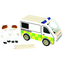 Buy Pin Toys Ambulance, Paramedics and Stretcher, Wood Online at johnlewis.com