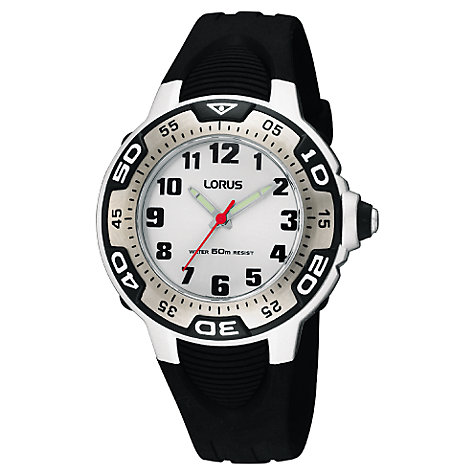 Buy Lorus RG237GX9 Children's Lumibrite Hands Rubber Strap Watch, Black/White Online at johnlewis.com