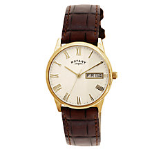 Buy Rotary GS02324/32 Men's Ultra Slim Leather Strap Watch, Dark Brown/Cream Online at johnlewis.com