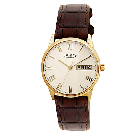 Buy Rotary GS02324/32 Men's Ultra Slim Leather Strap Watch, Dark Brown Online at johnlewis.com