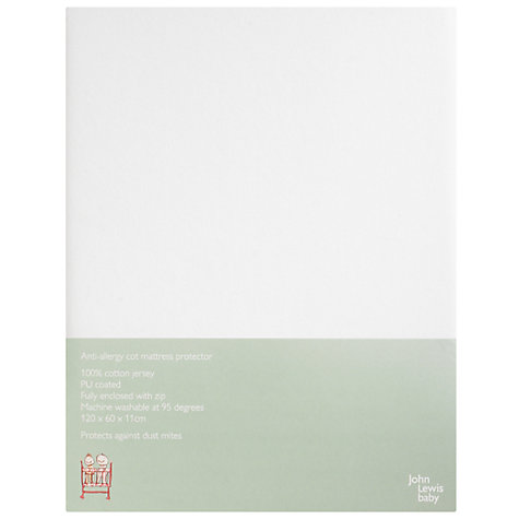Buy John Lewis Baby Anti Allergy Cot Mattress Protector, White Online at johnlewis.com