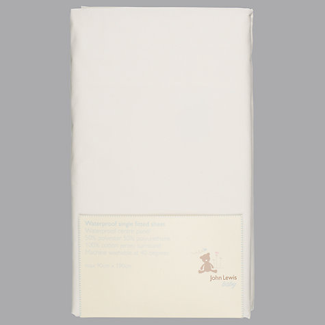 Buy John Lewis Baby Waterproof Fitted Sheet, Single Online at johnlewis.com