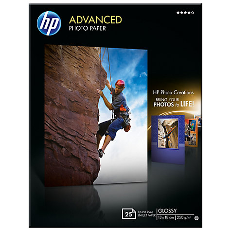 Buy HP Advanced Photo Paper, White, 13 x 18cm, 25 Sheets Online at johnlewis.com
