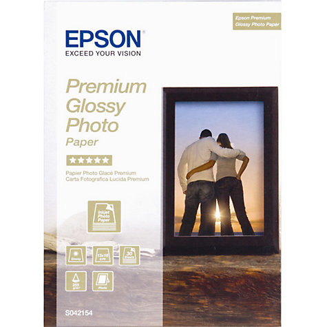 Buy Epson Premium Photo Printer Paper, White, 13 x 18cm, 30 Sheets Online at johnlewis.com