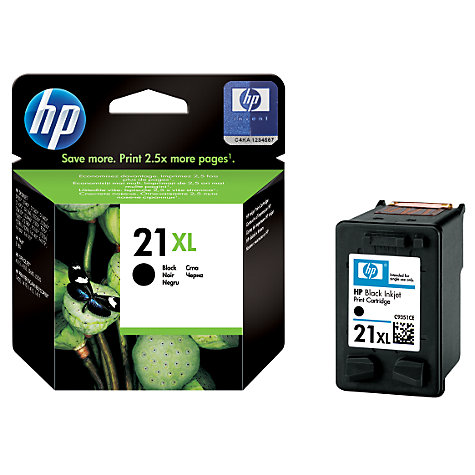 Buy HP 21XL Inkjet Cartridge, Black, C9351CE Online at johnlewis.com