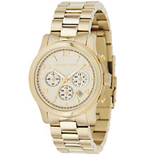 Buy Michael Kors MK5055 Women's Runway Chronograph Bracelet Strap Watch, Gold Online at johnlewis.com