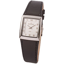 Buy Skagen 523XSSLBC Ladies Leather Watch, Black Online at johnlewis.com
