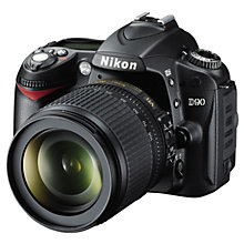 "Buy Nikon D90 Digital SLR Camera with 18-105mm Lens, HD 720p, 12.3 MP, 3"" LCD Screen, Black with 16GB + 8GB Memory Card Online at johnlewis.com"