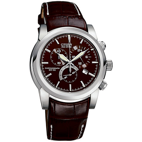 Buy Citizen Eco Drive AT0550-11X Men's Sport Chronograph Leather Strap Watch, Brown Online at johnlewis.com