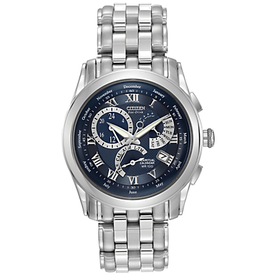 Citizen Eco-Drive BL8000-54L Men's Calibre 8700 Blue Dial Bracelet Watch, Silver