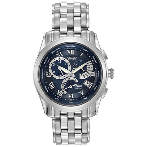 Buy Citizen Eco-Drive BL8000-54L Men's Calibre 8700 Blue Dial Bracelet Watch, Silver Online at johnlewis.com