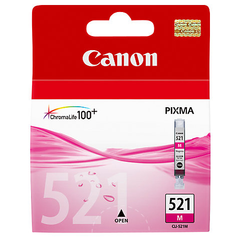 Buy Canon Pixma Inkjet Cartridge, Magenta, CLI-521 Online at johnlewis.com