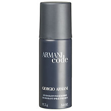 Buy ARMANI Black Code For Men Deodorant Spray Online at johnlewis.com
