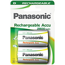 Buy Panasonic D Rechargeable Battery, Pack of 2 Online at johnlewis.com