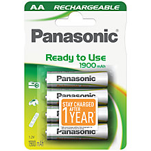 Buy Panasonic Infinium Rechargeable AA Batteries, Pack of 4 Online at johnlewis.com