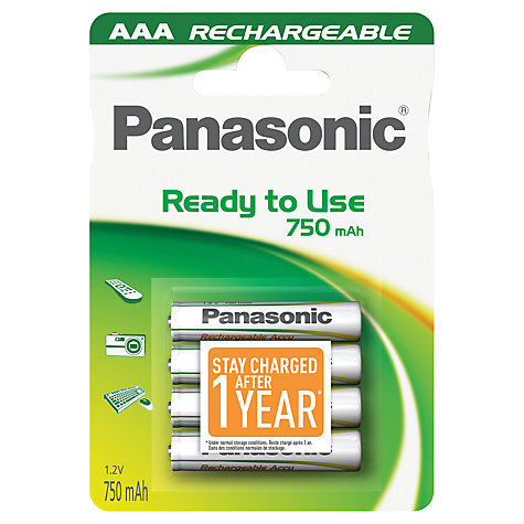 Buy Panasonic Infinium Rechargeable AAA Batteries, Pack of 4 Online at johnlewis.com