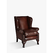 Buy John Lewis Compton Leather Wing Armchair, Antiqued Online at johnlewis.com