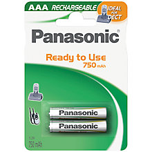 Buy Panasonic Accu Rechargeable AAA Batteries, Pack of 2 Online at johnlewis.com